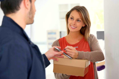 woman receiving the package